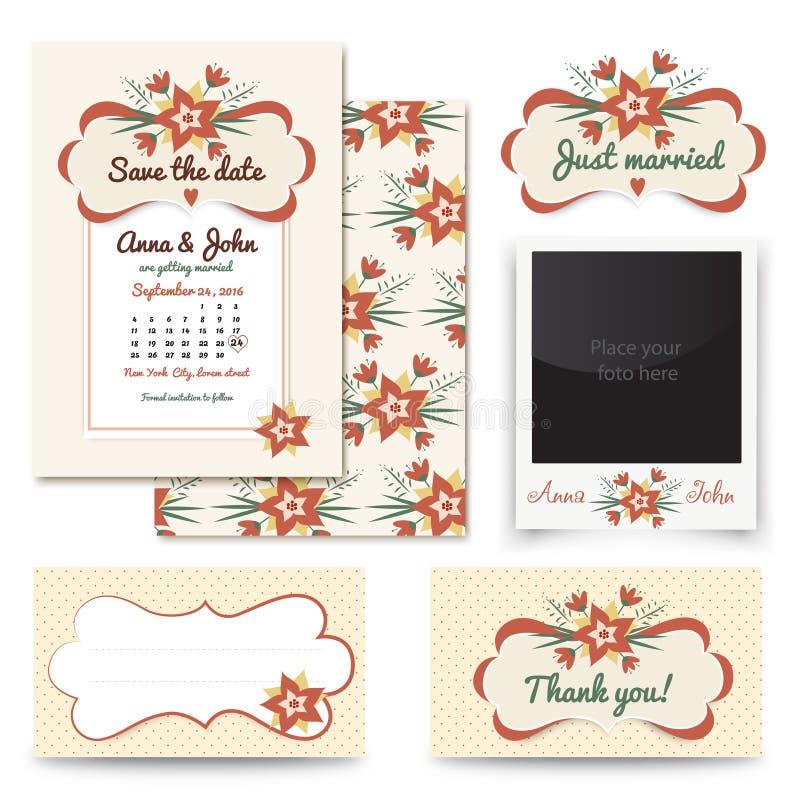 Rocznika zaproszenia projekta ślubni sety zawierają zaproszenie kartę, Właśnie zamężną, Dziękuje ciebie karcianego, stół liczba,  royalty ilustracja