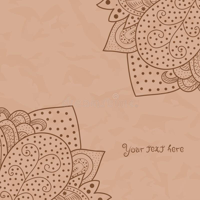 Rocznika zaproszenie osacza na jasnobrązowym grunge tle z koronkowym ornamentem, szablon ramy projekt dla karty z teksturą cru royalty ilustracja