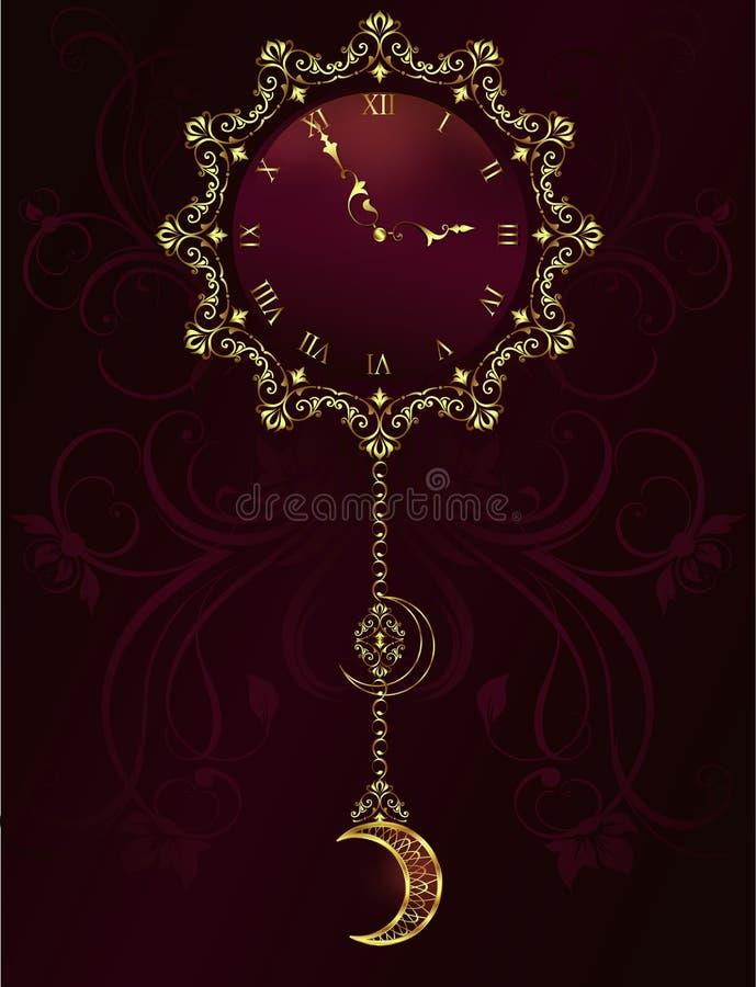 Rocznika zegar z kwiecistego ornamentu tłem royalty ilustracja