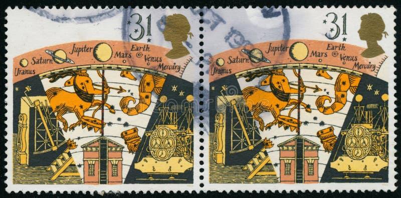 Rocznika znaczek drukujący w Wielkim Brytania 1990 pokazuje astronomię fotografia royalty free