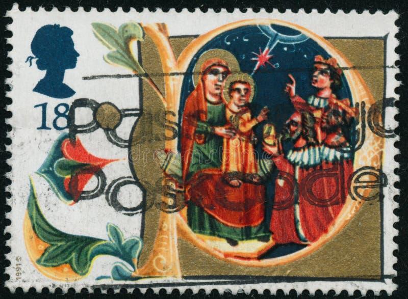 Rocznika znaczek drukujący w Wielkim Brytania 1991 pokazuje boże narodzenia zdjęcie royalty free