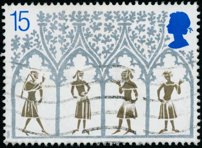 Rocznika znaczek drukujący w Wielkim Brytania 1989 pokazuje boże narodzenia 800th rocznica Ely katedra, Cambridgeshire zdjęcia royalty free
