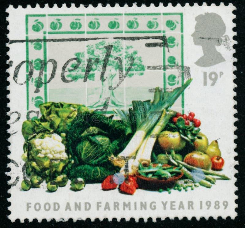 Rocznika znaczek drukujący w Wielkim Brytania 1989 pokazuje Karmowego rok i Uprawiać ziemię obraz royalty free