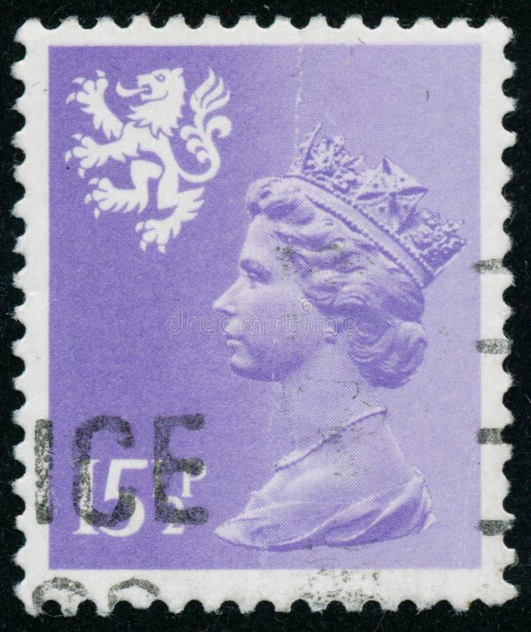 Rocznika znaczek drukujący w Wielkim Brytania 1982 pokazuje królowa elżbieta ii, Dzielnicowy Definitives, Walia obraz royalty free
