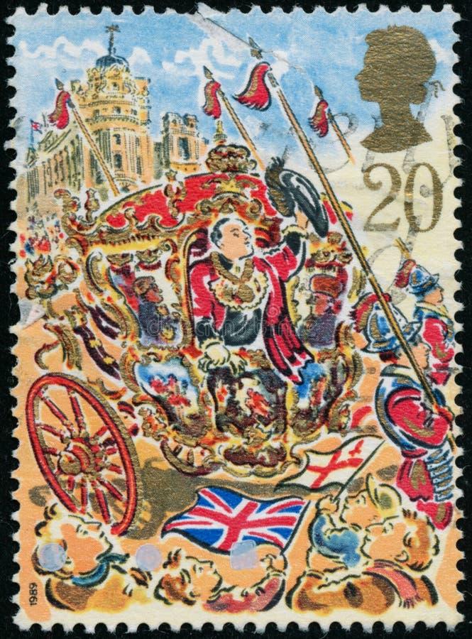 Rocznika znaczek drukujący w Wielkim Brytania 1989 pokazuje 800th rocznicę przedstawienie władyki Mayor obraz stock
