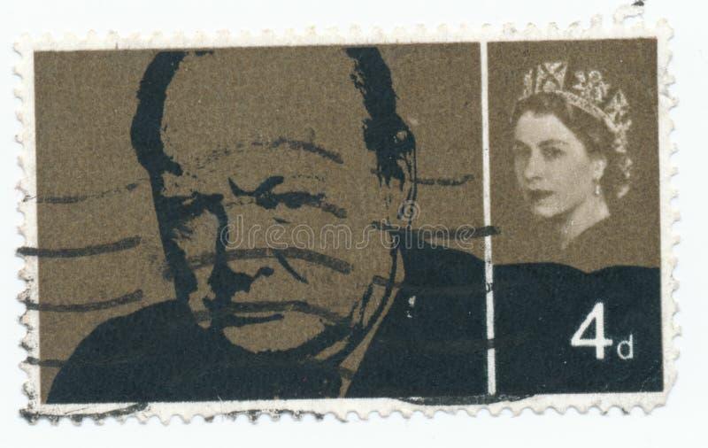 Rocznika znaczek drukujący w Wielkim Brytania 1965, Sir Winston Spencer Churchill zdjęcia royalty free