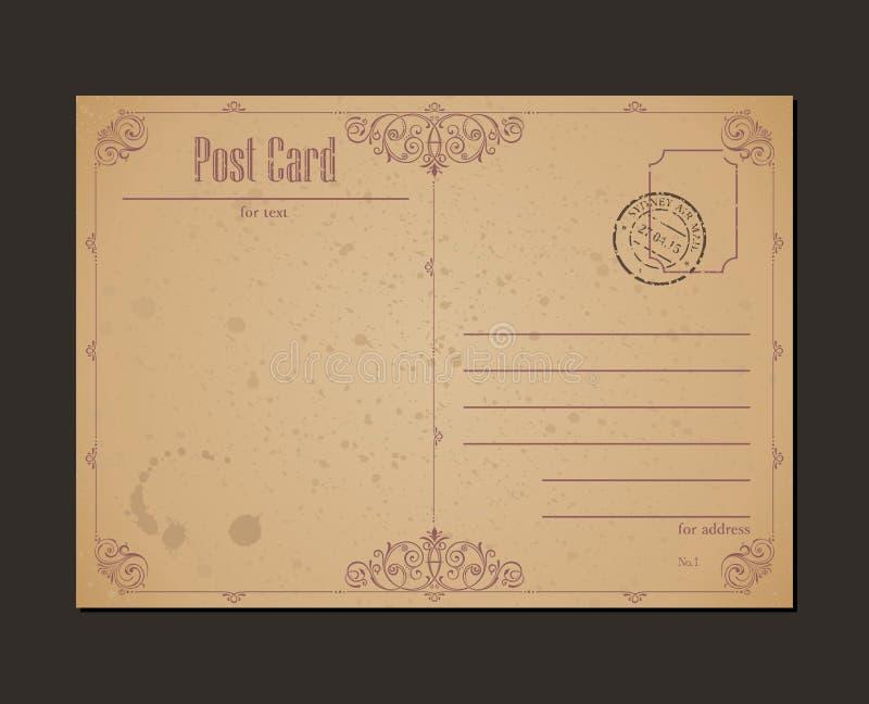 Rocznika znaczek pocztowy i pocztówka Projekt royalty ilustracja