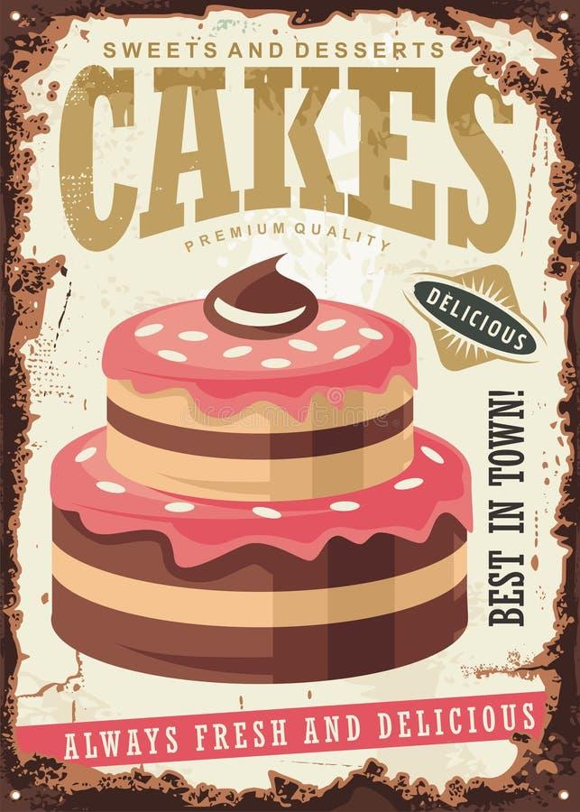 Rocznika znak dla tortów i deserów ilustracja wektor