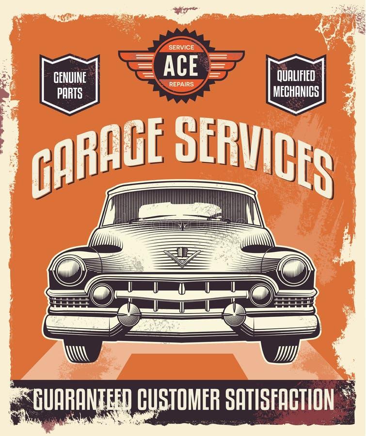 Rocznika znak Klasyczny samochód - garaż - Reklamujący plakat - royalty ilustracja