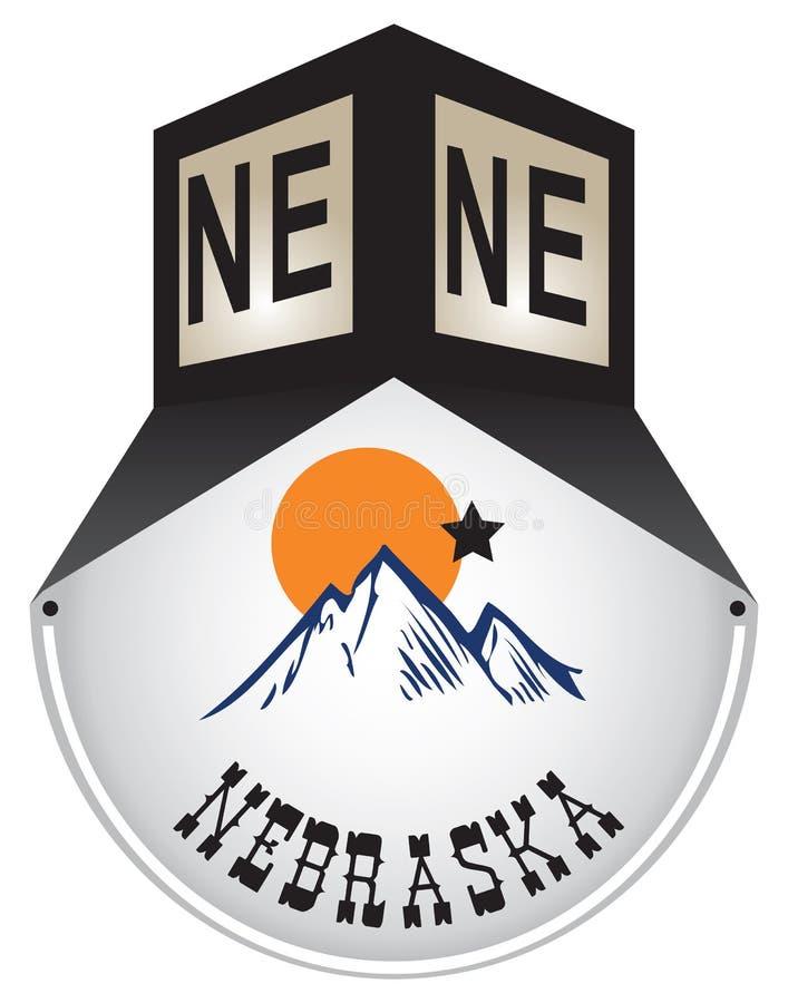 Rocznika znak uliczny dla Nebraska ilustracja wektor