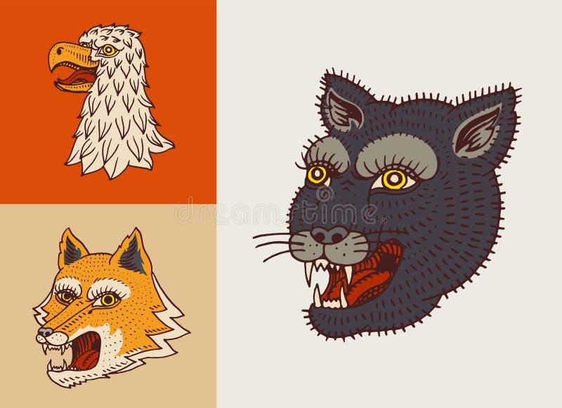 Rocznika zwierz?cia g?owy Logo dla koszulki Dzika pantera, lis i jastrząbek, R?ka rysuj?cy Graweruj?cy monochrom royalty ilustracja