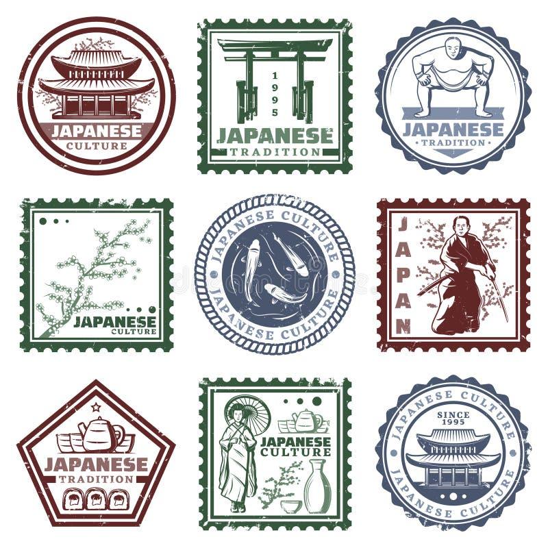 Roczniki Barwiący Japonia znaczki Ustawiający ilustracja wektor