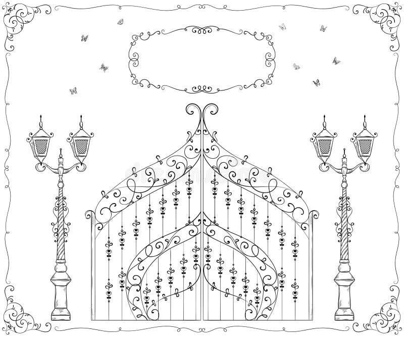 Roczniki forged brama, lampion i rama z kwiecistym ornamentem, Odosobneni przedmioty ilustracja wektor