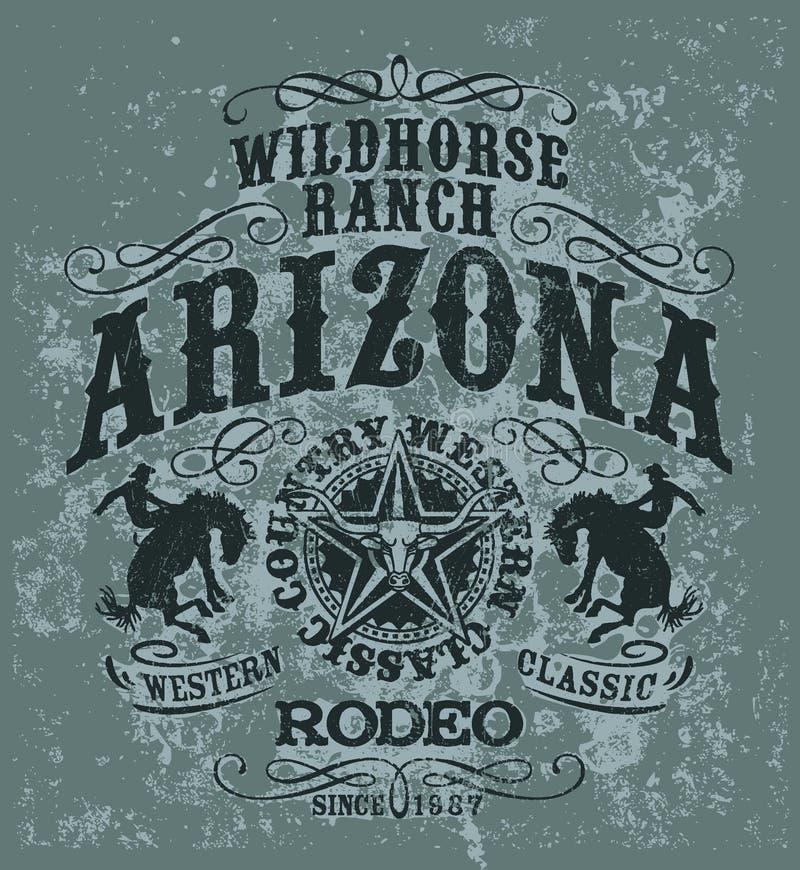 Rodéo de cheval sauvage de l'Arizona illustration de vecteur