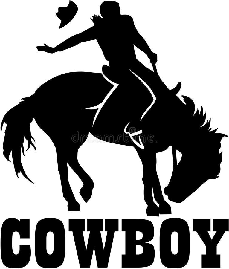 Rodéo de cowboy sur un cheval avec le mot de cowboy illustration stock