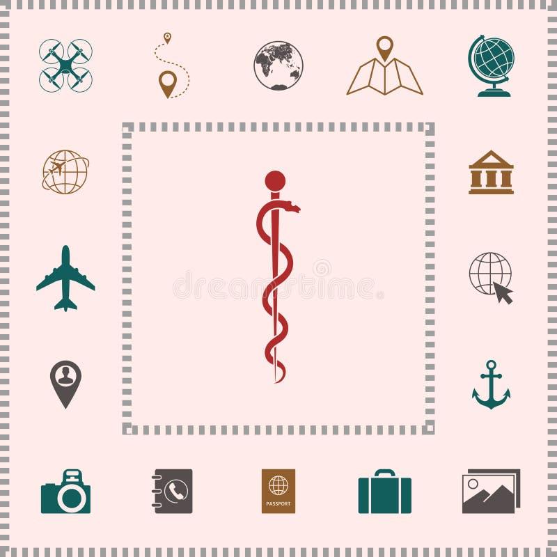 Rod Asclepius węża Coiled Up sylwetka ilustracji