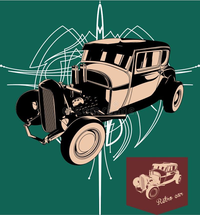 Rod chaud Rétro véhicule Affiche de vintage de vecteur illustration libre de droits