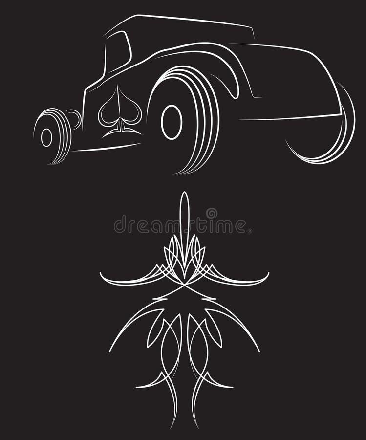 Rod chaud Rétro véhicule filets Belle illustration de vecteur de filet illustration libre de droits