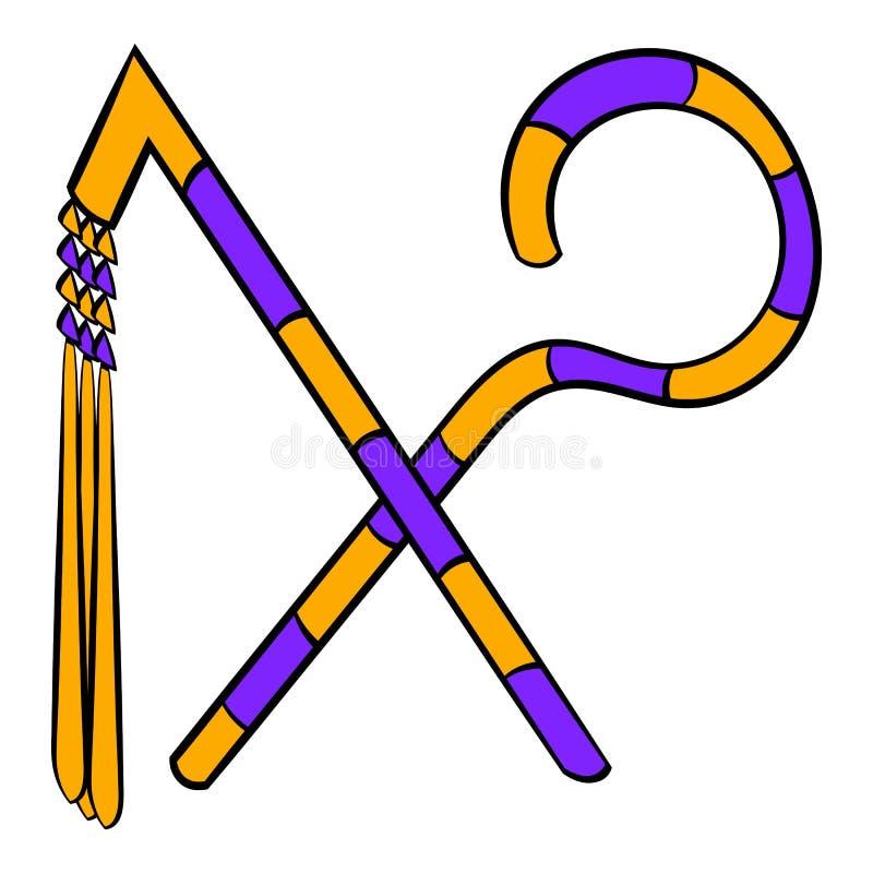 Rod e chicote de desenhos animados do ícone do faraó ilustração royalty free