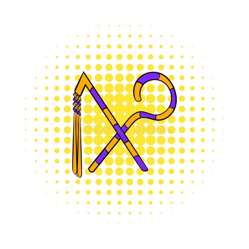 Rod e chicote do ícone do faraó, estilo da banda desenhada ilustração stock