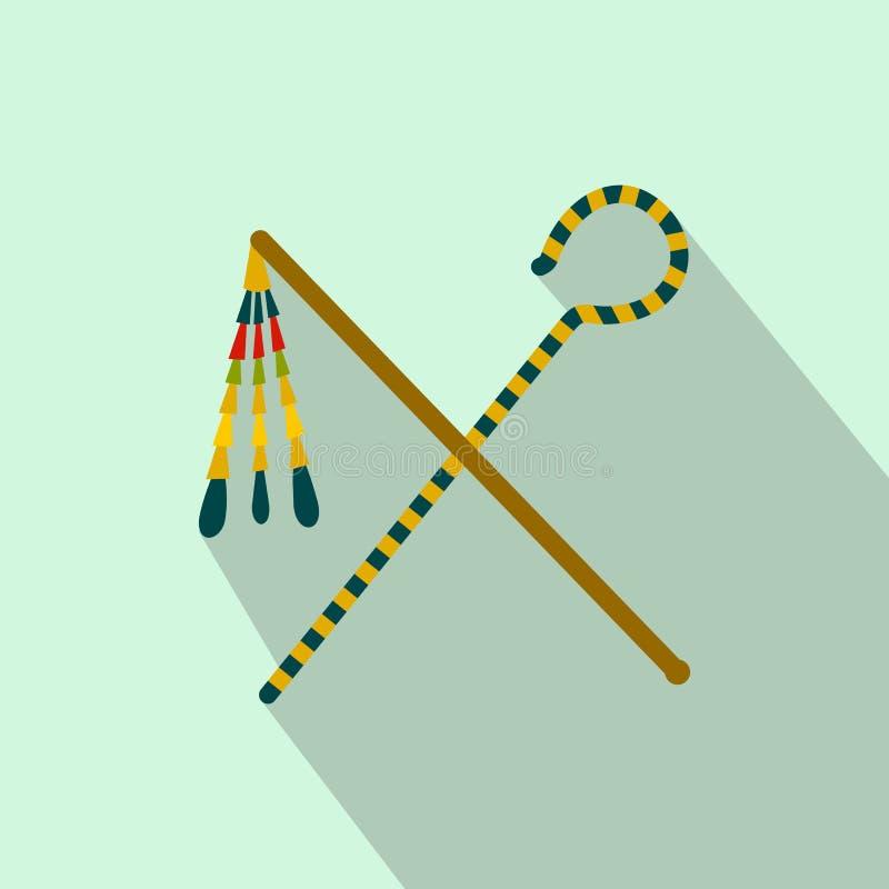 Rod e chicote do ícone do faraó, estilo liso ilustração royalty free