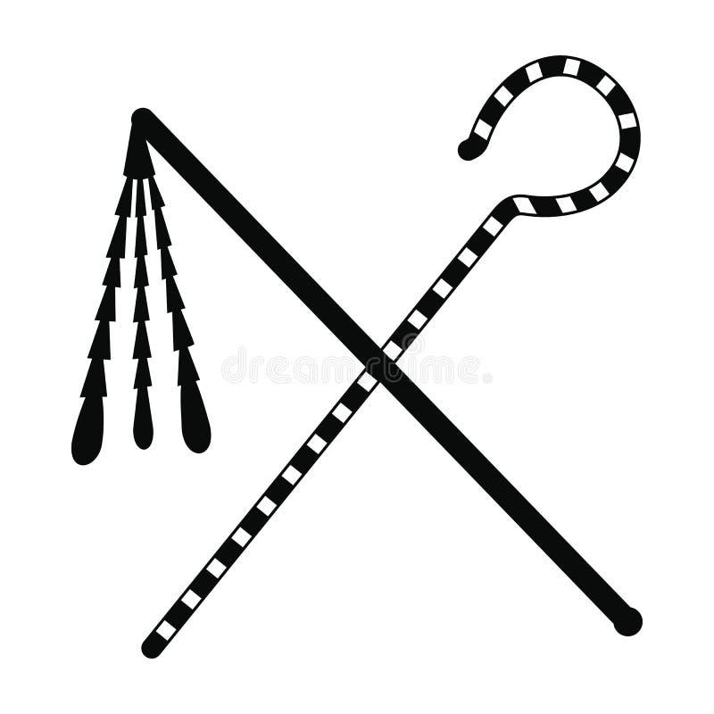 Rod e chicote do ícone do faraó, estilo simples ilustração royalty free
