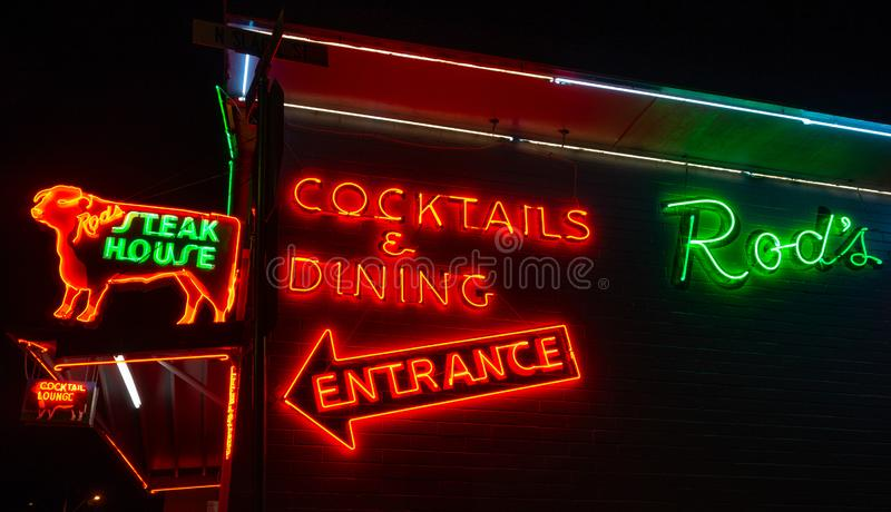 Rod`s Steak House, Neon Sign. Route 66. Rod`s Steak House, Williams, AZ. Taken along Route 66 in Williams stock image