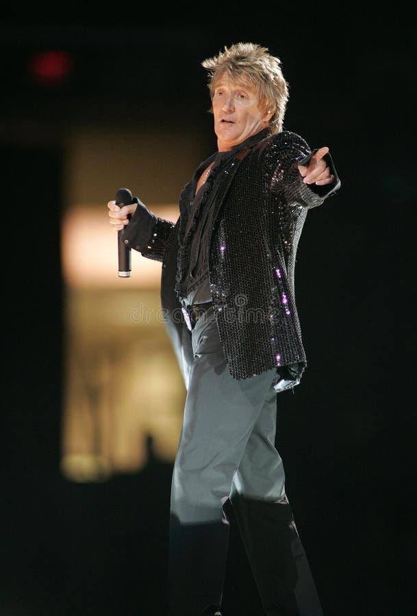 Rod Stewart executa no concerto fotografia de stock