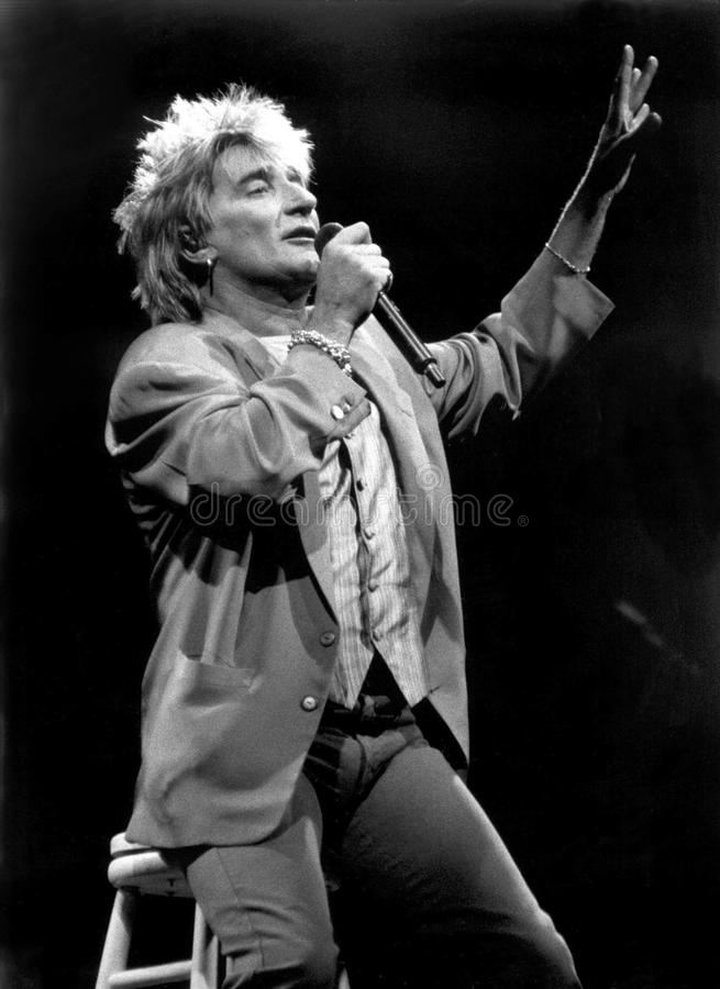 Rod Stewart performs in the Round at the Centrum, Worcester, MA 1995 by Eric L. Johnson Photography royalty free stock image