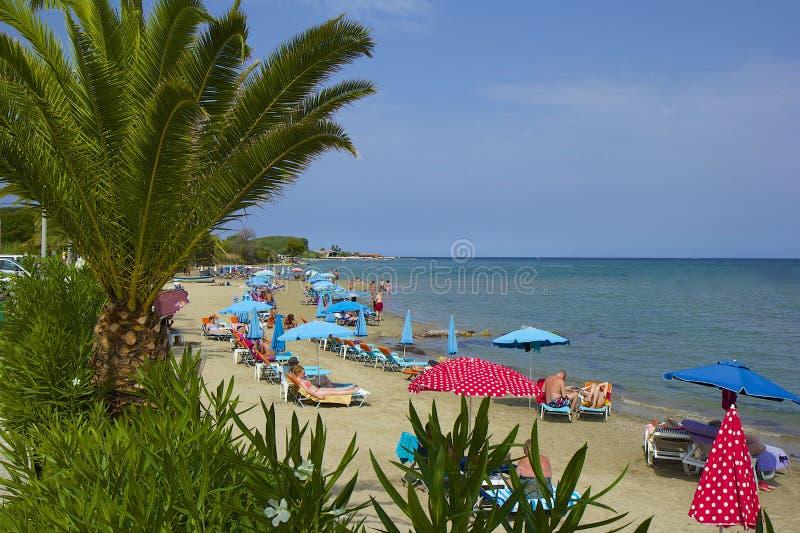 Roda海滩,科孚岛希腊 库存图片