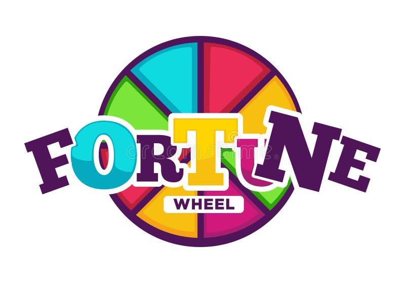 Roda brilhante da fortuna feita do emblema colorido dos segmentos ilustração stock