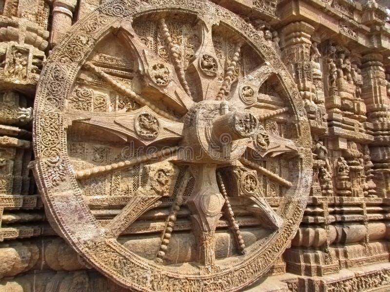 Roda cinzelada rocha do chariot no templo de Sun fotografia de stock royalty free