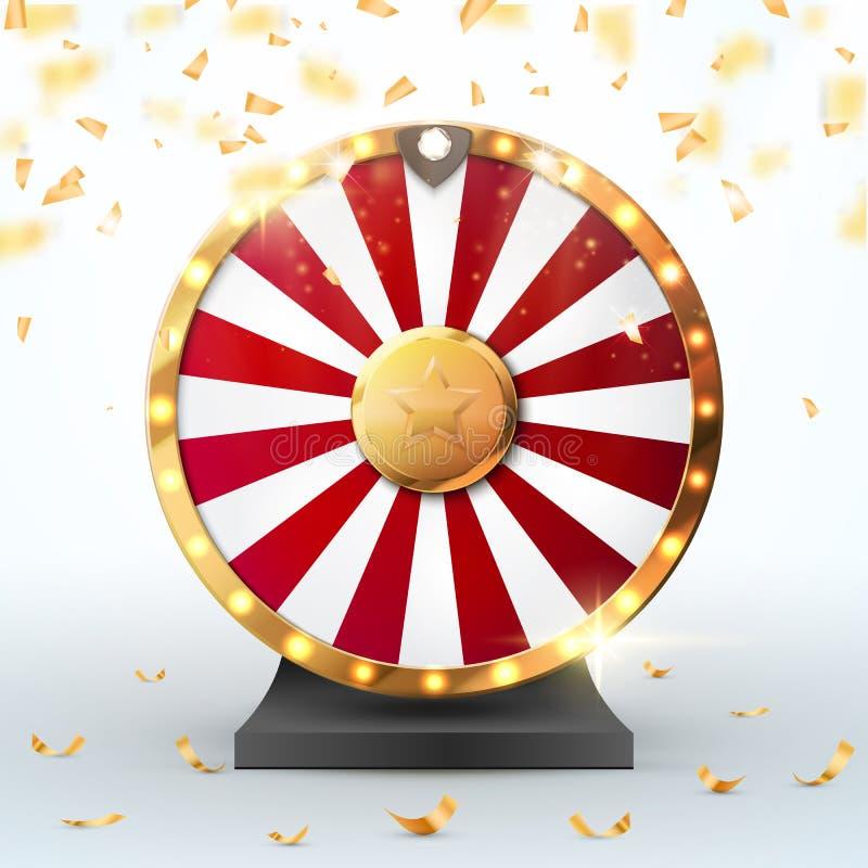 Roda colorida da fortuna com confetes e luzes Ilustração do vetor ilustração royalty free