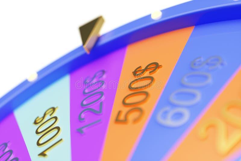 roda colorida da ilustração 3d da sorte ou da fortuna Rodas de gerencio da fortuna da roleta, roda do casino Fortuna da roda sobr ilustração stock