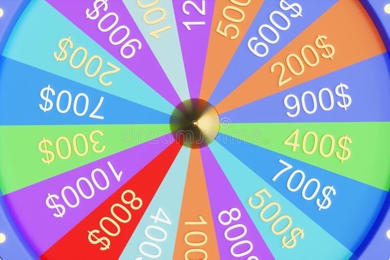 roda colorida da ilustra??o 3d da sorte ou da fortuna Rodas de gerencio da fortuna da roleta, roda do casino Fortuna da roda ilustração do vetor