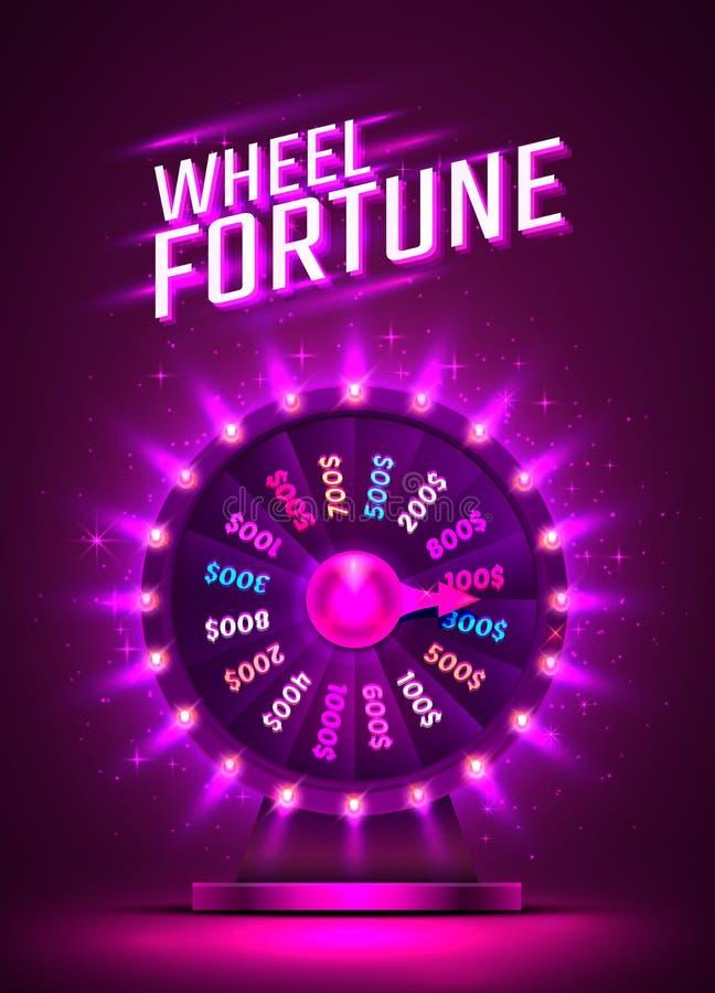 Roda colorida de néon da fortuna do casino Fundo roxo ilustração royalty free