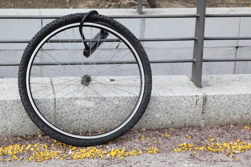 Roda da bicicleta roubada fotos de stock
