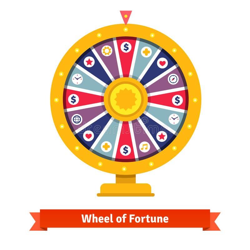 Roda da fortuna com ícones das apostas ilustração do vetor