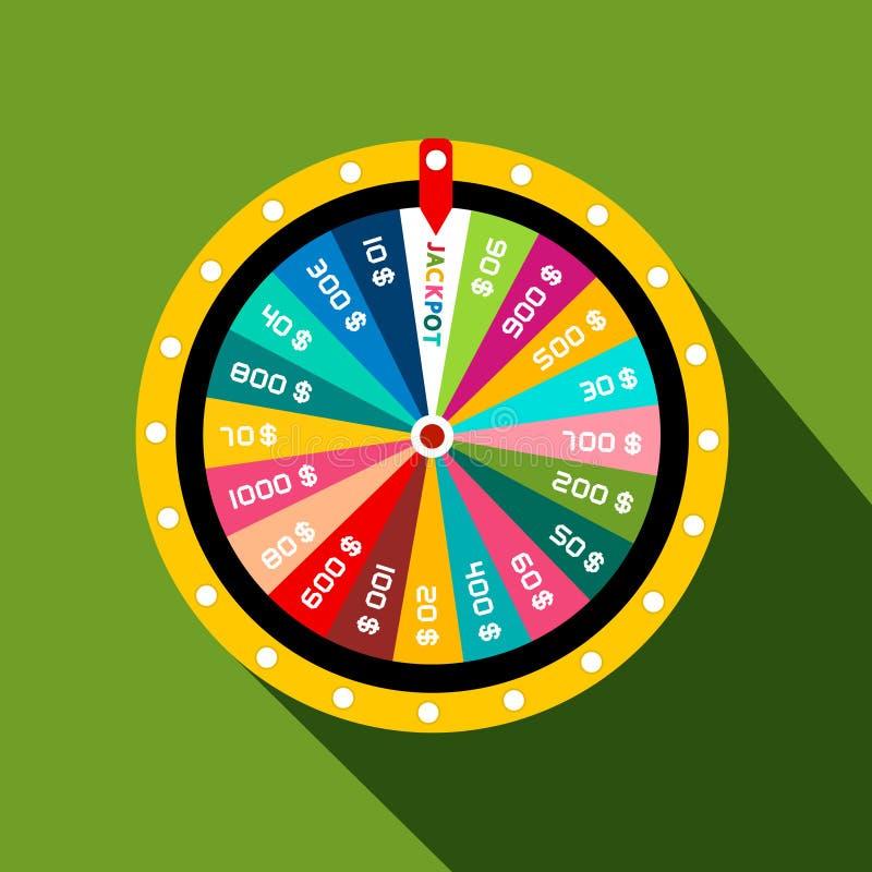 Roda da fortuna com símbolo do jackpot ilustração do vetor