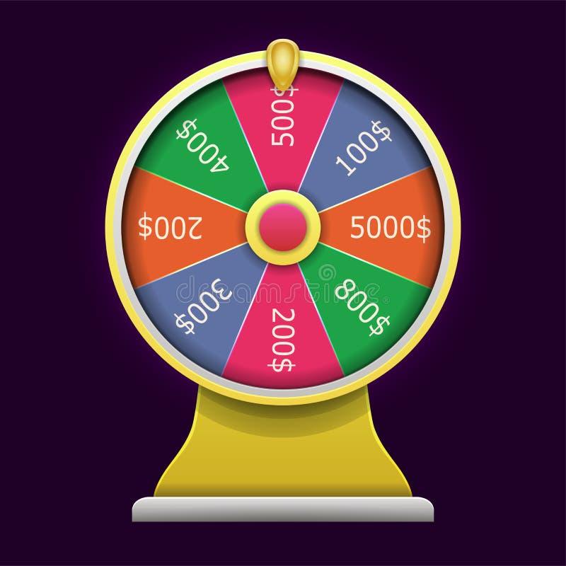Roda da fortuna de giro estilo 3d realístico ilustração do vetor