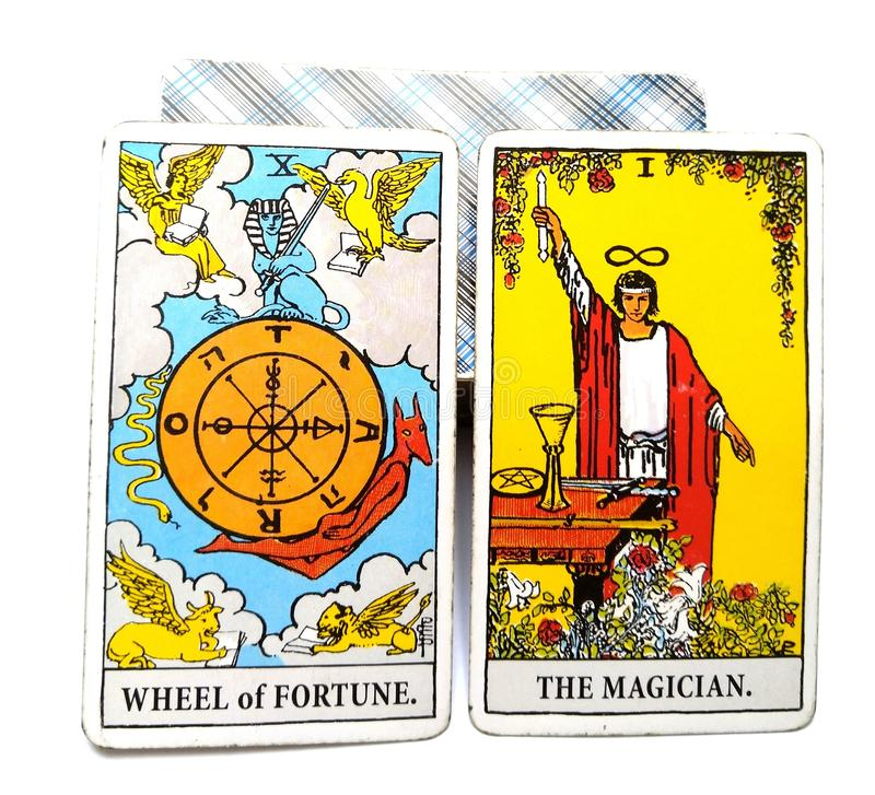 Roda da fortuna do cartão do nascimento do tarô o mágico ilustração royalty free