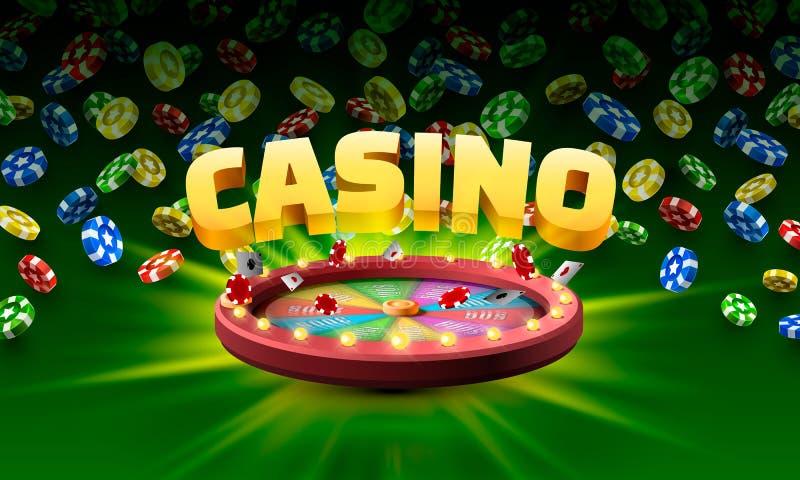 Roda da fortuna do casino Isolado no fundo verde ilustração stock