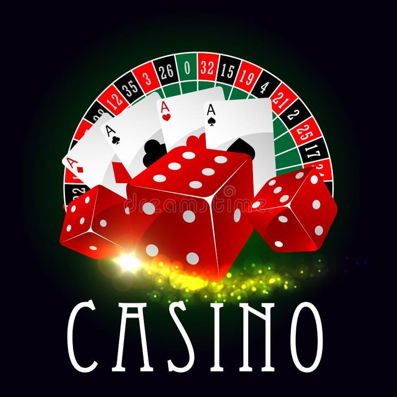 A roda da fortuna do casino, pôquer carda o cartaz do vetor ilustração royalty free