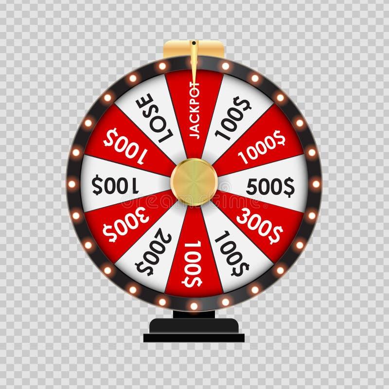Roda da fortuna, Lucky Icon no fundo transparente Ilustração do vetor ilustração stock