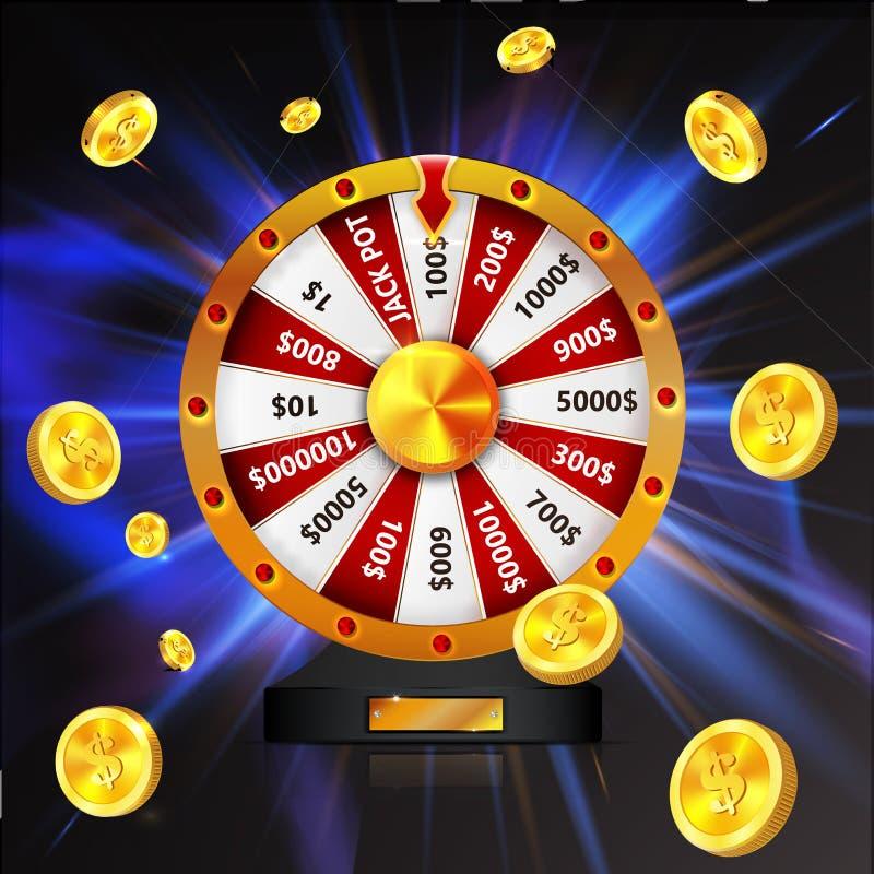 A roda da sorte com moedas de ouro objeta, isolado no fundo de incandescência escuro ilustração stock