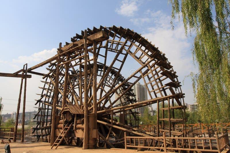 Roda de água de madeira de Lanzhou China fotos de stock royalty free