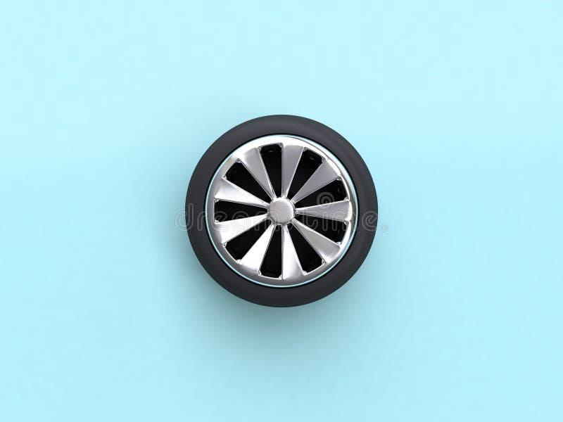 roda de carro colocada lisa azul da cena da rendição 3d ilustração do vetor