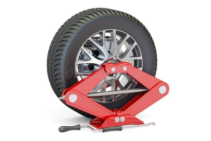 Roda de carro com screwjack vermelho, rendição 3D ilustração stock