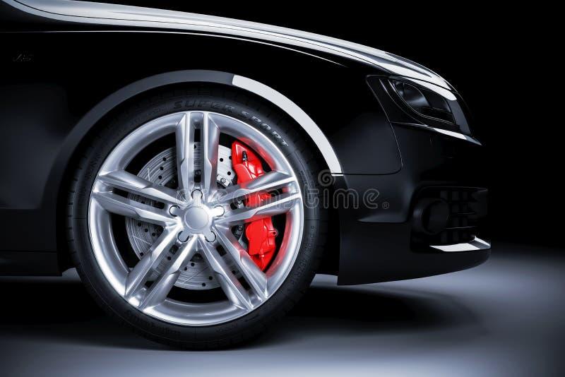 Roda de carro dos esportes com os freios vermelhos na iluminação do estúdio ilustração royalty free