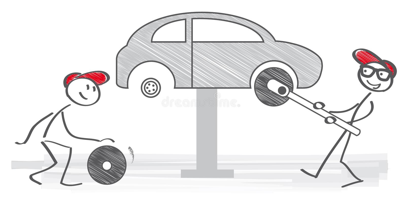 Roda de carro em mudança ilustração stock